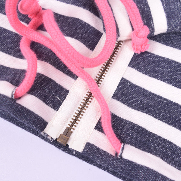 Women Zip Through Striped neon Pink Hood Lined Hoodie - Navy  White Neon Pink - klashcollection - 5