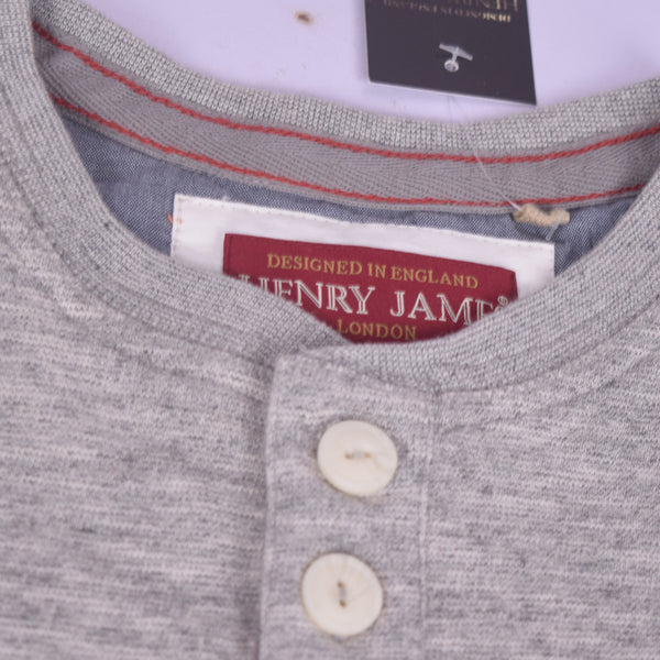 "Men's ""Henry James"" Nap Yarn 3 Button placket Henley Shirt with Left chest Embroidery - Brick Marl - klashcollection - 2"