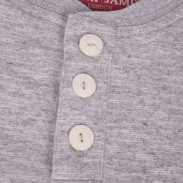 "Men's ""Henry James"" Nap Yarn 3 Button placket Henley Shirt with Left chest Embroidery - Brick Marl - klashcollection - 4"