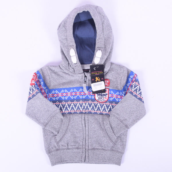 Kids Oliver Duke Aztech Printed Zipper Hoodie with Left Chest Applique Embroidery  - Grey Marl - klashcollection - 1