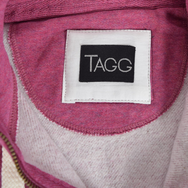 "Women ""TAGG"" Nap Yarn Super Soft Zip Through Hoodie With Side Ribbed Panels - Pink Marl - klashcollection - 7"