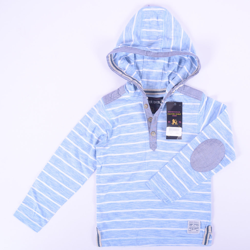 Kids Oliver Duke Dyed yarn Striped Button up Spring Hoodie - Sky White - klashcollection - 1