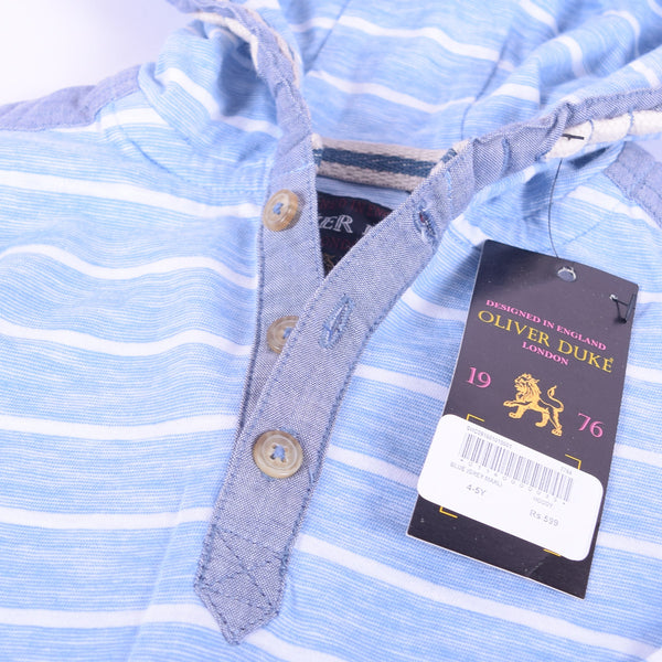 Kids Oliver Duke Dyed yarn Striped Button up Spring Hoodie - Sky White - klashcollection - 2