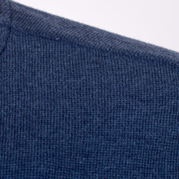 Men's Henry James Nap Yarn long sleeve Thermal Henley Shirt - Blue Marl - klashcollection - 3