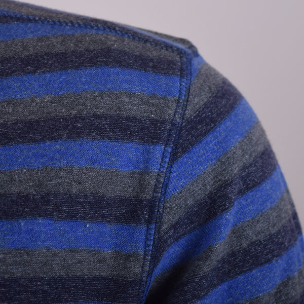 Men's henry James Blue Grey Striped Henley Shirt - Blue Grey - klashcollection - 4