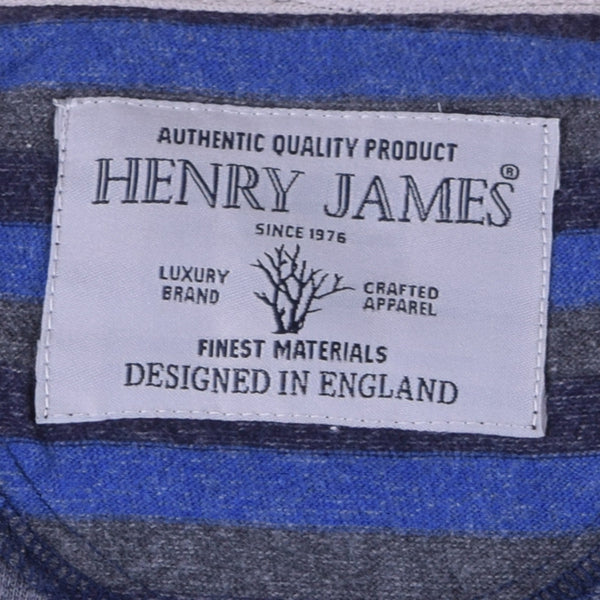 Men's henry James Blue Grey Striped Henley Shirt - Blue Grey - klashcollection - 6