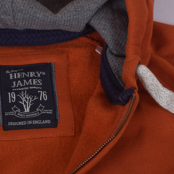 Men's Henry James North Cost Zip Through Hoodie - Rust -Charcoal - klashcollection - 8