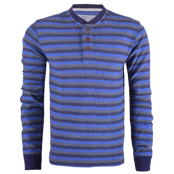 Men's henry James Blue Grey Striped Henley Shirt - Blue Grey - klashcollection - 1