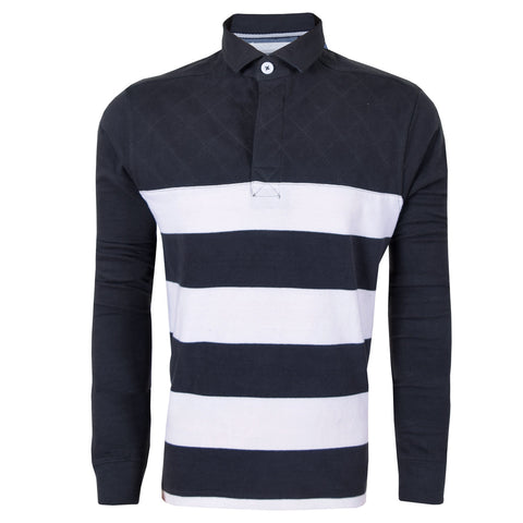 Men's Henry James long sleeve cut and sew rugby shirt - Charcoal Offwhite - klashcollection - 1