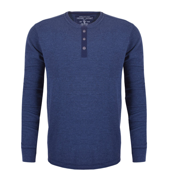 Men's Henry James Nap Yarn long sleeve Thermal Henley Shirt - Blue Marl - klashcollection - 1