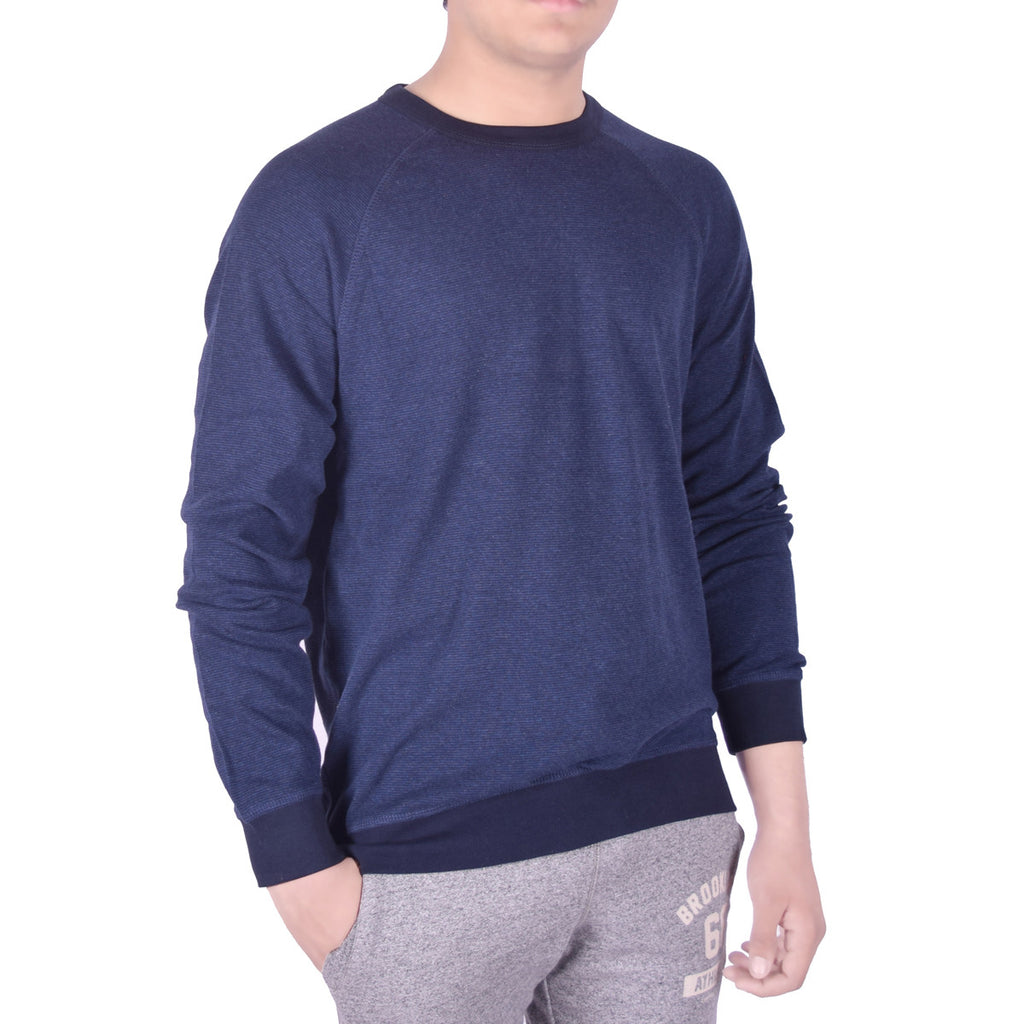 Men's Henry James Contrast Ribbed Crew Neck Sweat Tee Shirt - Mid Night Blue - Navy - klashcollection - 1