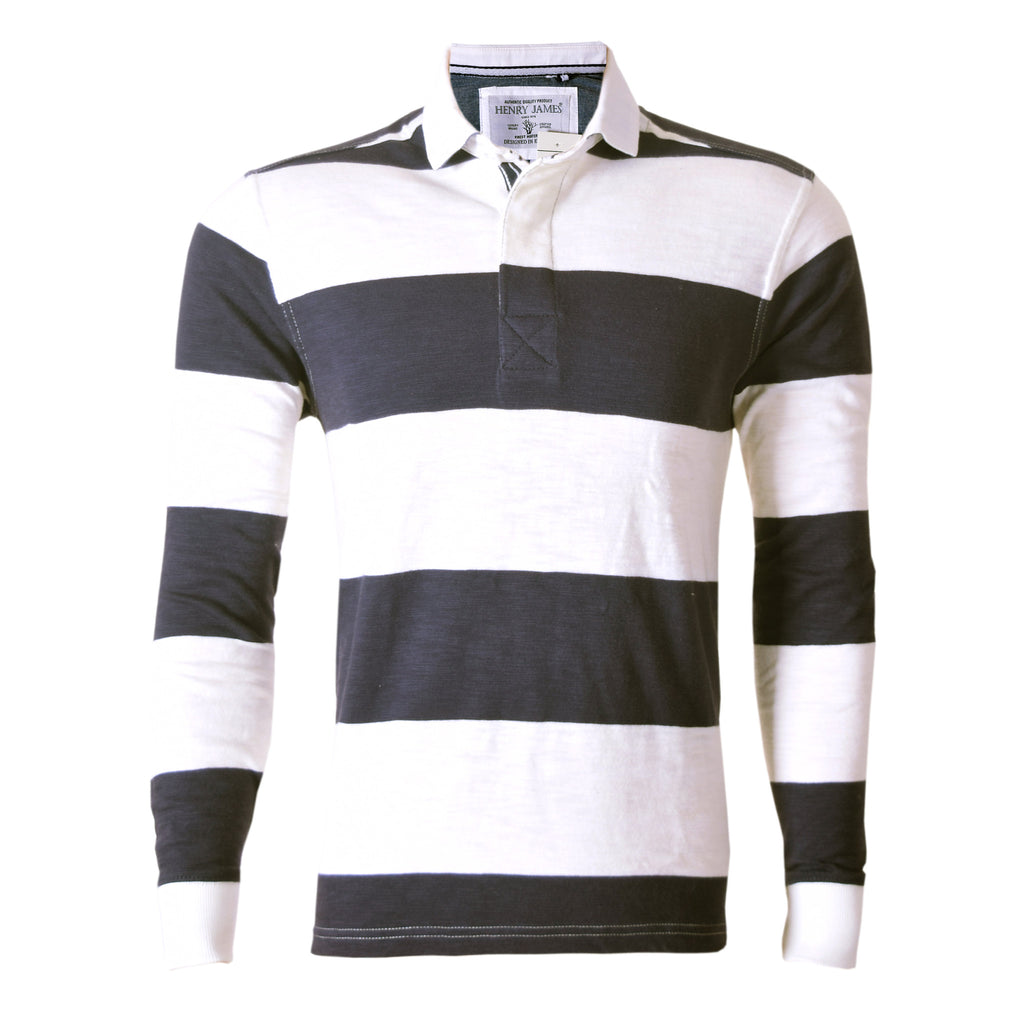 Men's Henry James Yarn Dyed Long sleeve Broad Stripper rugby Shirt - Navy offwhite - klashcollection - 2