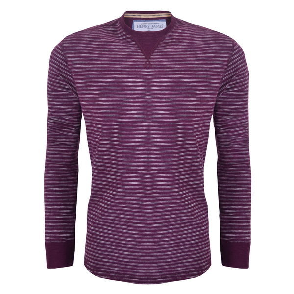 Men's Henry James Slub Stripes long sleeve tee shirt - Burgundy - klashcollection - 1