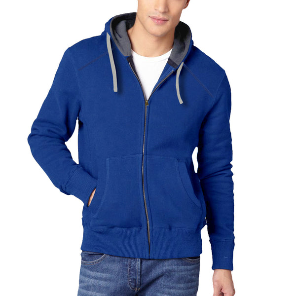 Men's Henry James North Cost Zip Through Hoodie - Royal -Charcoal - klashcollection - 1