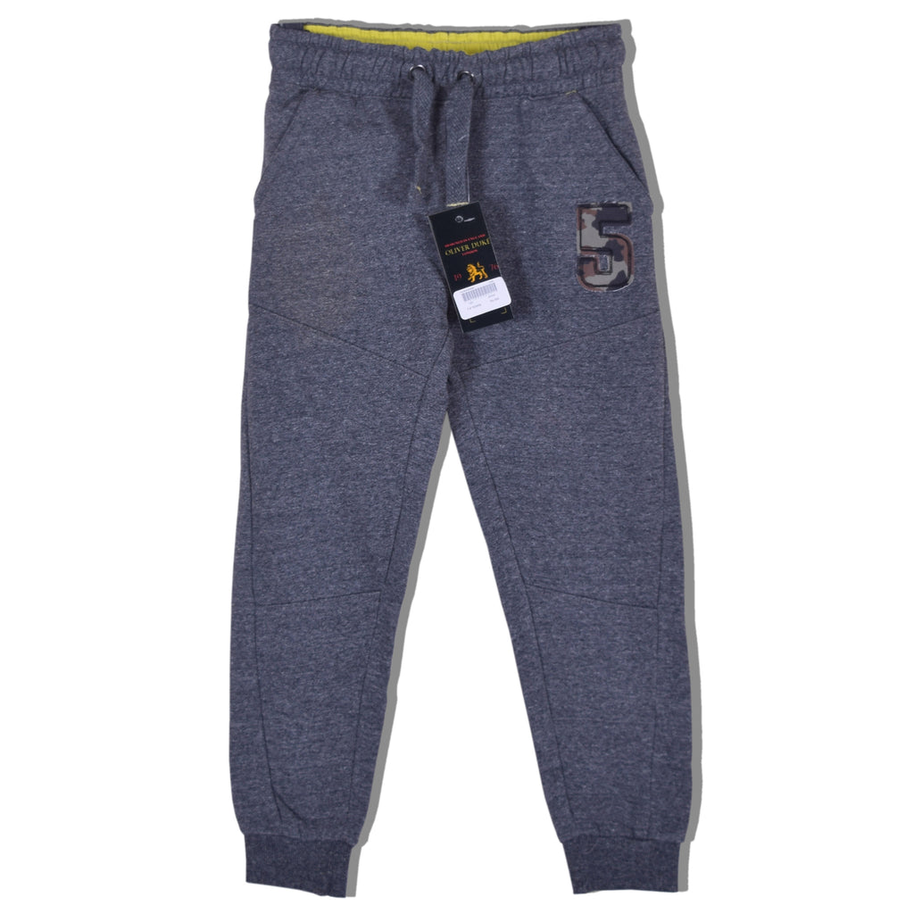 "Kids ""Oliver Duke"" Close bottom Jogger With Applique Embroidery - Charcoal Marl - klashcollection - 1"
