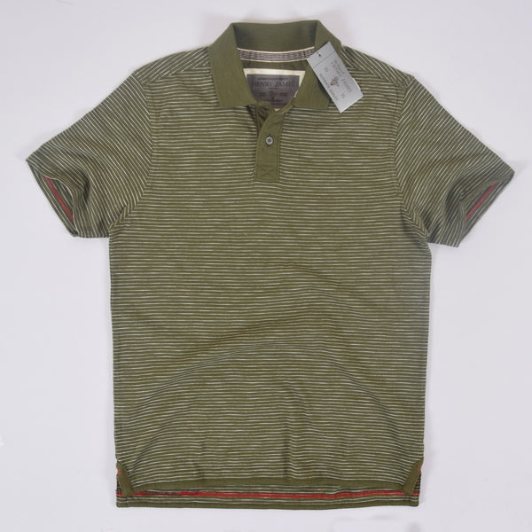 Men's Henry James dyed Yarn Thin Strip Self Collar Polo Shirt - Green - klashcollection - 1