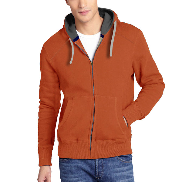 Men's Henry James North Cost Zip Through Hoodie - Rust -Charcoal - klashcollection - 1