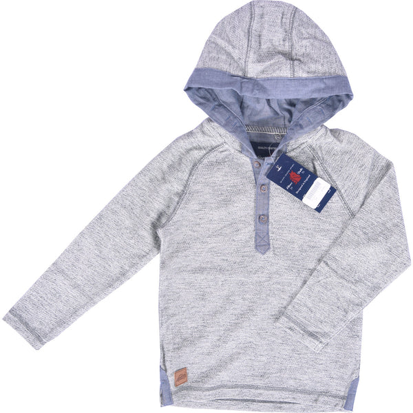 Kids Oliver Duke nap Yarn reverse Terry Button up Hoodie - Oatmeal Heather - klashcollection - 1