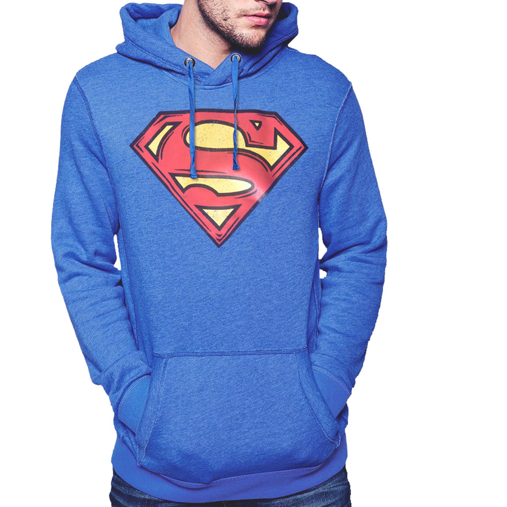"Men's Henry James ""Super Man"" Pull Over Hoodie - Blue Marl - klashcollection - 1"