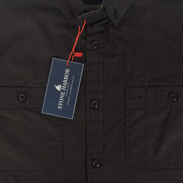 Men's Stone Harbor Double Pocket Hilton Casual Shirt - Black/Navy - klashcollection - 2