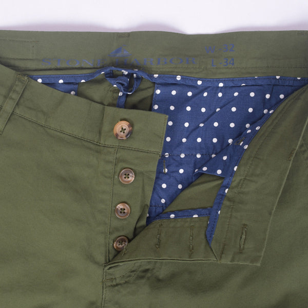 "Copy of Men's ""Stone Harbor"" Slim fit Cotton Chino Pant - Army Green - klashcollection - 2"