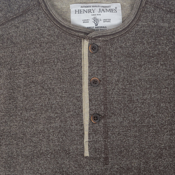 Men's Henry James long sleeve Melange Henley - Chocolate - klashcollection - 2