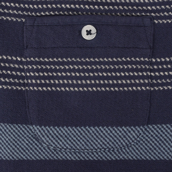 Men's Henry James Jacquard Stripes Polo Shirt - Navy