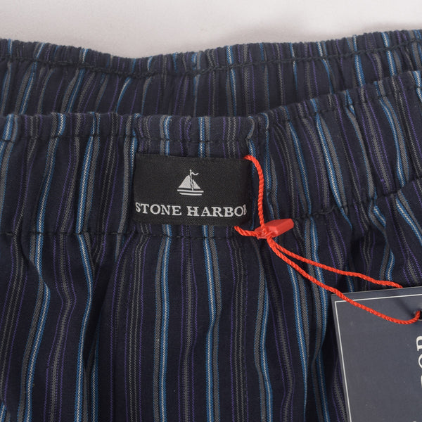 Men's Stone Harbor Navy Sky Scale Striped Woven Boxer Short - klashcollection - 2