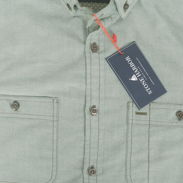 Men's Stone Harbor Double Pocket Hilton Casual Shirt - Olive - klashcollection - 2