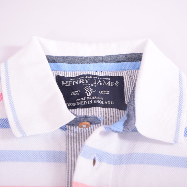 Men's Henry James Rich Cotton Dyed Yarn Striped Polo Shirt. - klashcollection - 3