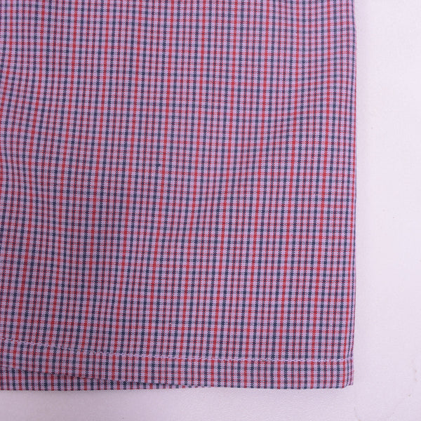 Men's Stone Harbor Red Navy Checked Button Fly Woven Boxer Short - klashcollection - 3