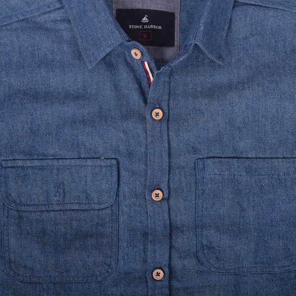 "Men's ""Stone Harbor"" Two Pocket Denim Casual Shirt - klashcollection - 2"