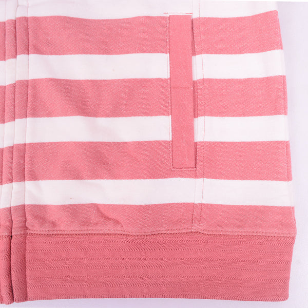 Ladies TAGG Zip Through Striped Hooded - White/Pink - klashcollection - 2