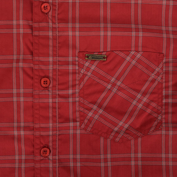 Men's Stone Harbor Single Pocket Congo Checked Casual Shirt - Red/Grey - klashcollection - 2