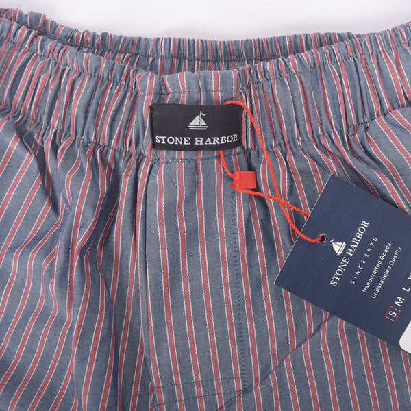 Men's Stone Harbor Red Grey Scale Striped Woven Boxer Short - klashcollection - 2