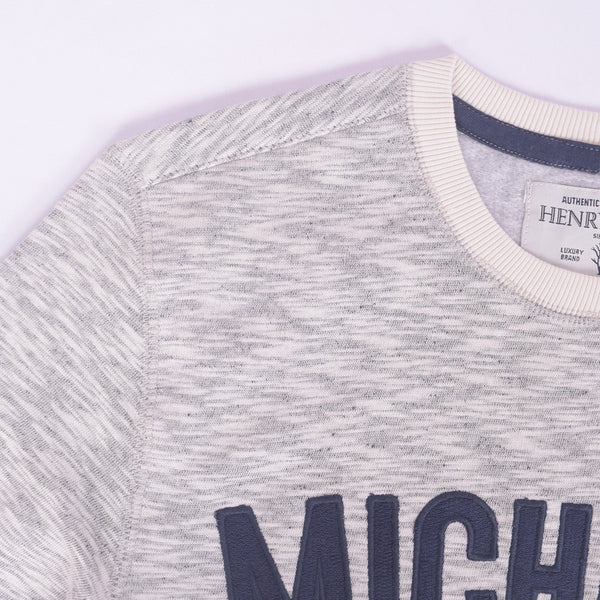 Copy of Men's Henry James Oatmail Marl MICHIGAN crew neck sweat _ Oatmail Marl - klashcollection - 2