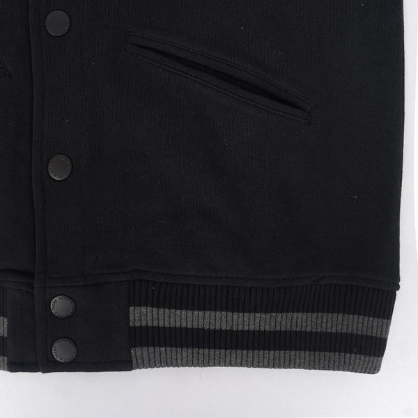 Kid's Henry James Button through contrast sleeve quilted baseball jacket - Black/Grey - klashcollection - 4