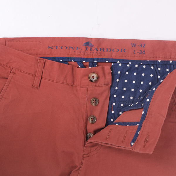 "Men's ""Stone Harbor"" Slim fit Cotton Chino Pant - Burnt Orange - klashcollection - 2"