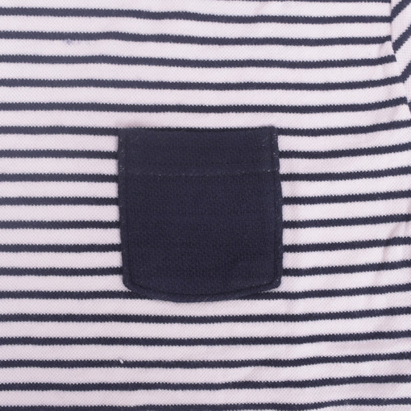 Ladies TAGG textured striped  fabric pocket crew  - Navy/White - klashcollection - 3
