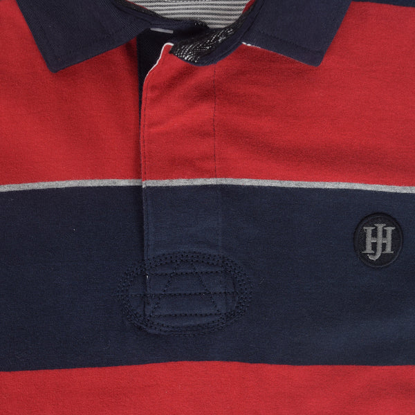 Men's Henry James Long Sleeve Stripped Applique Rugby Shirt - Navy-Red - klashcollection - 3