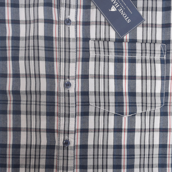 Men's Stone Harbor Single Pocket Congo Checked Casual Shirt - Navy/Grey - klashcollection - 2