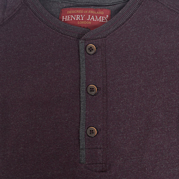 Men's Henry James long sleeve Melange Henley - Dark Wine - klashcollection - 2
