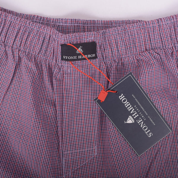 Men's Stone Harbor Red Navy Checked Button Fly Woven Boxer Short - klashcollection - 2