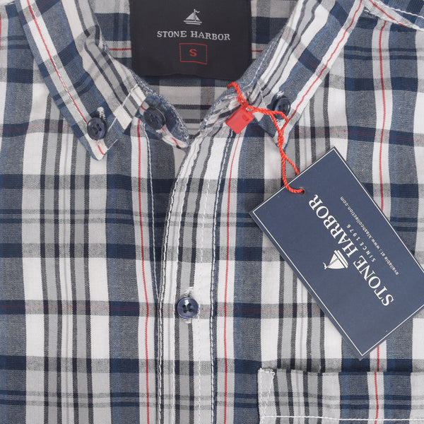 Men's Stone Harbor Single Pocket Congo Checked Casual Shirt - Navy/Grey - klashcollection - 3