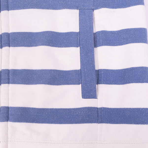 Ladies TAGG Zip Through Striped Hooded - White/Blue - klashcollection - 4