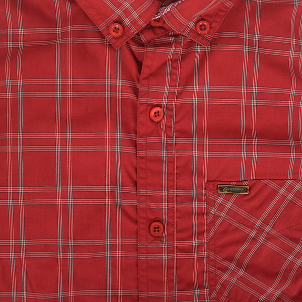 Men's Stone Harbor Single Pocket Congo Checked Casual Shirt - Red/Grey - klashcollection - 3