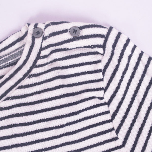 Ladies TAGG textured striped  fabric pocket crew  - Navy/White - klashcollection - 2