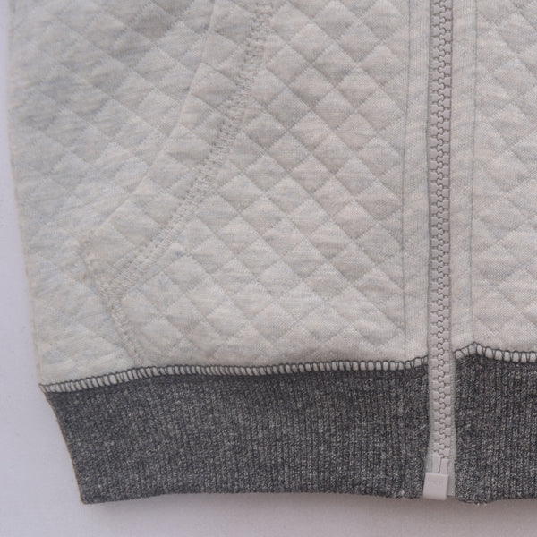 Kids Oliver Duke Quilted Zipper hoodie with Contrast sleeve - Grey Marl - klashcollection - 3