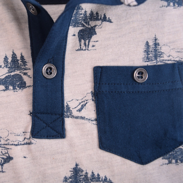 Kids Oliver Duke Beach  Printed Pocket Polo Shirt - klashcollection - 3