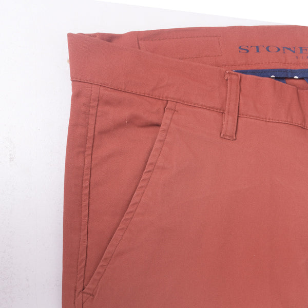 "Men's ""Stone Harbor"" Slim fit Cotton Chino Pant - Burnt Orange - klashcollection - 3"